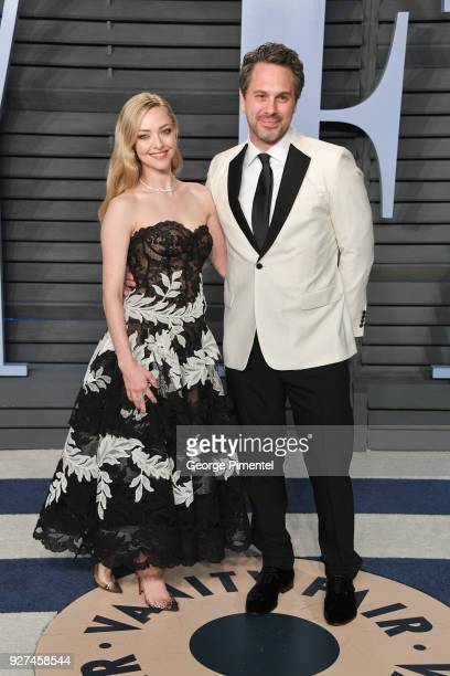 Amanda Seyfried and Thomas Sadoski attend the 2018 Vanity Fair Oscar Party hosted by Radhika Jones at Wallis Annenberg Center for the Performing Arts...