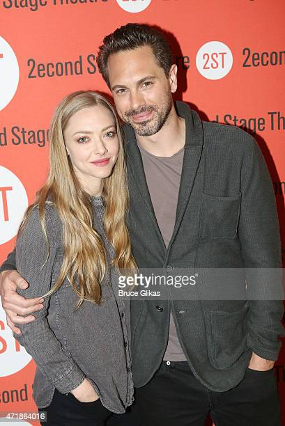 Amanda Seyfried and Thomas Sadowski pose at the new Neil LaBute play 'The Way We Get By' photo call at Second Stage Theatre on May 1 2015 in New York...