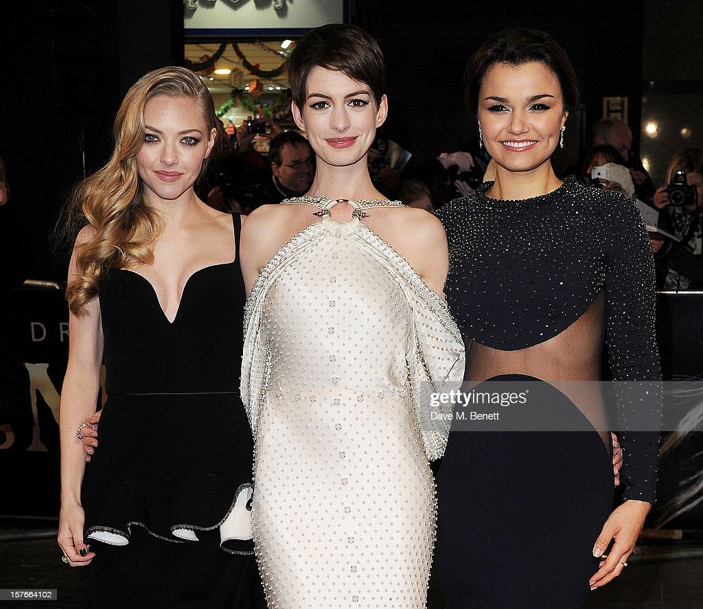 Amanda Seyfried, Anne Hathaway and Samantha Barks attend the World Premiere of 'Les Miserables' at Odeon Leicester Square on December 5, 2012 in London, England.