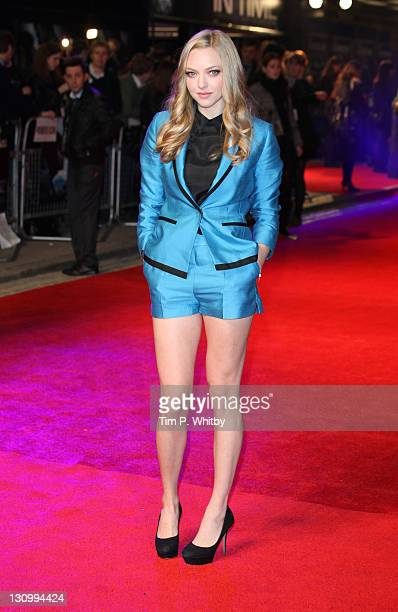 Amanda Seyfried arrives at the UK premiere of 'In Time' at The Curzon Mayfair on October 31 2011 in London England