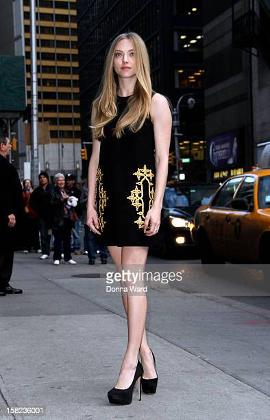 Amanda Seyfried arrives for The Late Show with David Letterman at Ed Sullivan Theater on December 11 2012 in New York City