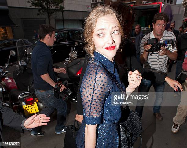 Amanda Seyfried arriving at the Balthazar Restaurant Covent Garden on August 12 2013 in London England