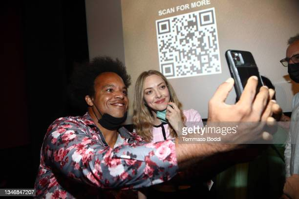 """Amanda Seyfried attends the """"A Mouthful Of Air"""" Q&A with Amanda Seyfried, cast and filmmakers at AMC Century City 15 on October 15, 2021 in Century..."""