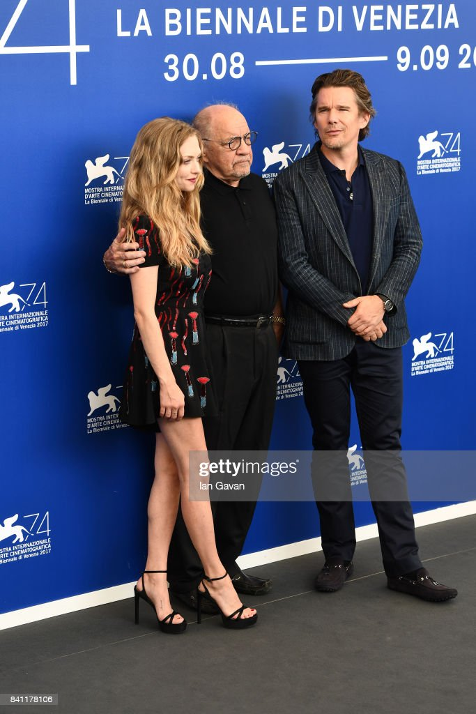 Amanda Seyfried, director Paul Schrader and Ethan Hawke wearing a Jaeger-LeCoultre Master Ultra Thin Moon watch attend the 'First Reformed' photocall during the 74th Venice Film Festival at Sala Casino on August 31, 2017 in Venice, Italy.
