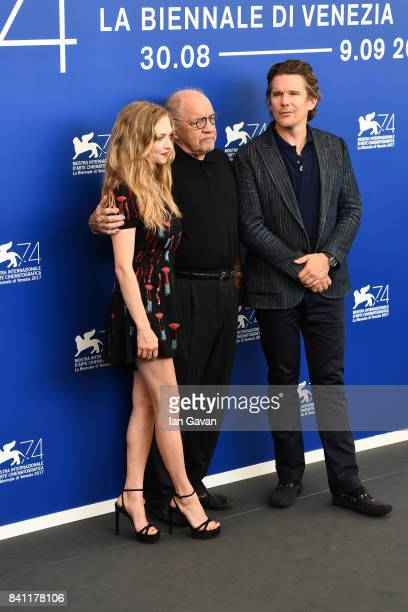 Amanda Seyfried director Paul Schrader and Ethan Hawke wearing a JaegerLeCoultre Master Ultra Thin Moon watch attend the 'First Reformed' photocall...