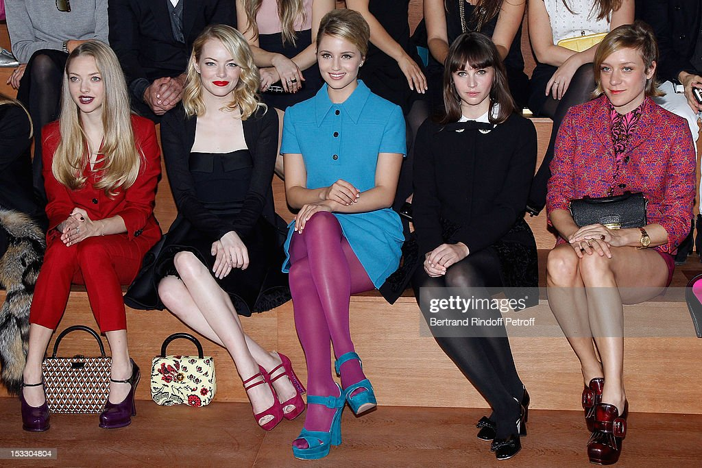 Amanda Seyfried, Emma Stone, Dianna Agron, Felicity Jones and Chloe Sevigny attend the Miu Miu Spring/Summer 2013 show as part of Paris Fashion Week on October 3, 2012 in Paris, France.
