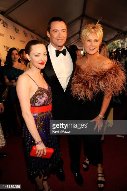 Amanda Seyfried Hugh Jackman and DeborraLee Furness attend the 66th Annual Tony Awards at The Beacon Theatre on June 10 2012 in New York City