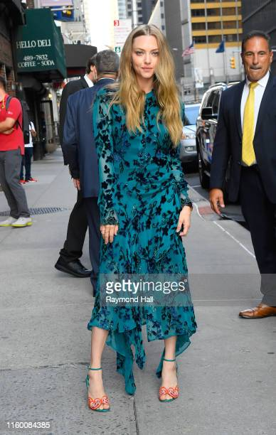 """Amanda Seyfried is seen outside of """"The Late Show With Stephen Colbert"""" on August 6, 2019 in New York City."""