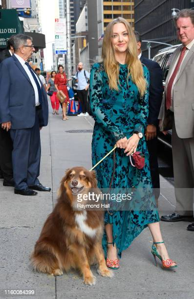 Amanda Seyfried is seen with her dog Finn outside of The Late Show With Stephen Colbert on August 6 2019 in New York City