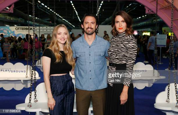 Amanda Seyfried Milo Ventimiglia and Mandy Moore attend the POPSUGAR Play/ground at Pier 94 on June 22 2019 in New York City