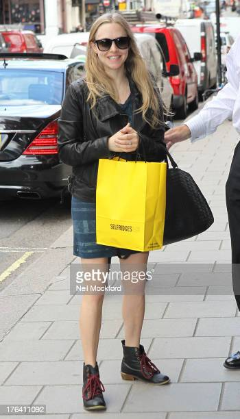 Amanda Seyfried seen outside her hotel after shopping on August 12 2013 in London England