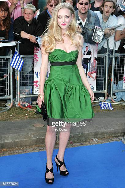 Amanda Seyfried who plays Sophie attends the World Premiere of Mamma Mia at The Odeon Leicester Square on June 30 2008 in London England