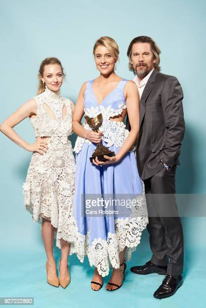 Amanda Seyfried Winner of Best Winner Greta Gerwig and Ethan Hawke attend the 2018 Film Independent Spirit Awards on March 3 2018 in Santa Monica...