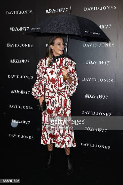 Amanda Shadforth arrives ahead of the David Jones Autumn Winter 2017 Collections Launch at St Mary's Cathedral Precinct on February 1 2017 in Sydney...