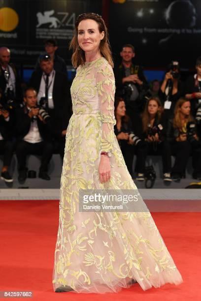 Amanda Shadforth walks the red carpet ahead of the 'Three Billboards Outside Ebbing Missouri' screening during the 74th Venice Film Festival at Sala...