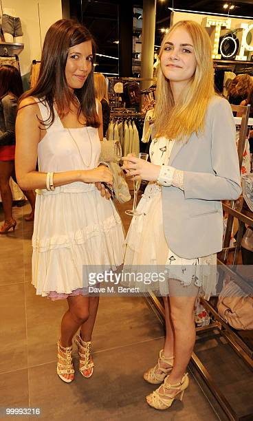Amanda Shepherd and Delevine attends the instore launch for the opening of TopShop's Knightsbridge store on May 19 2010 in London England