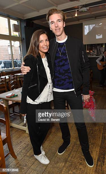 Amanda Sheppard and James Cook attend the Zoe Jordan KNITLAXY Quiz Night at The Larrik Pub on April 20 2016 in London England