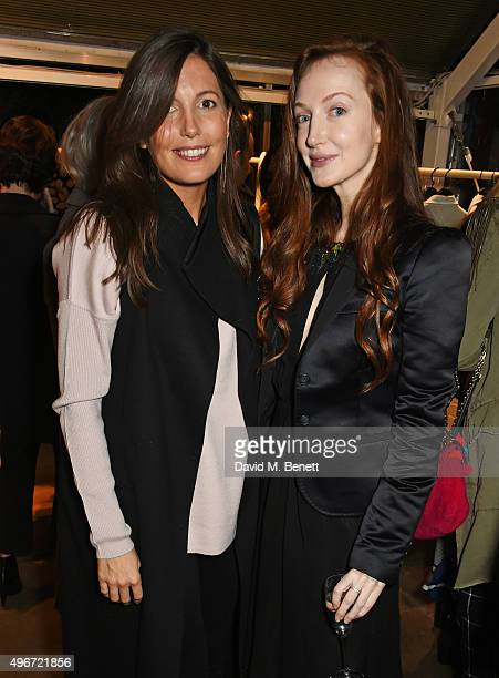 Amanda Sheppard and Olivia Grant attend a candlelit dinner for VINCE at Clifton Nurseries on November 11 2015 in London England
