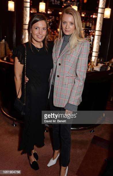 Amanda Sheppard and Rebecca Corbin Murray attend the Michael Kors cocktail party to celebrate the collaboration with David Downton at Claridge's...