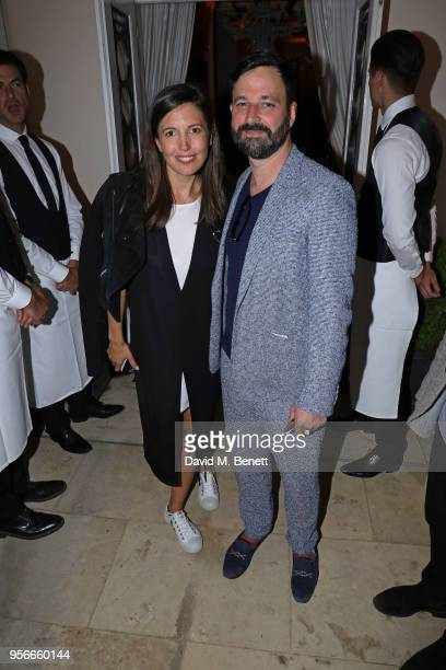Amanda Sheppard and Simon Hammerstein attend Goga Ashkenazi's celebration of the 'Sustainable Surf' collaboration with Marc Quinn with dinner at her...