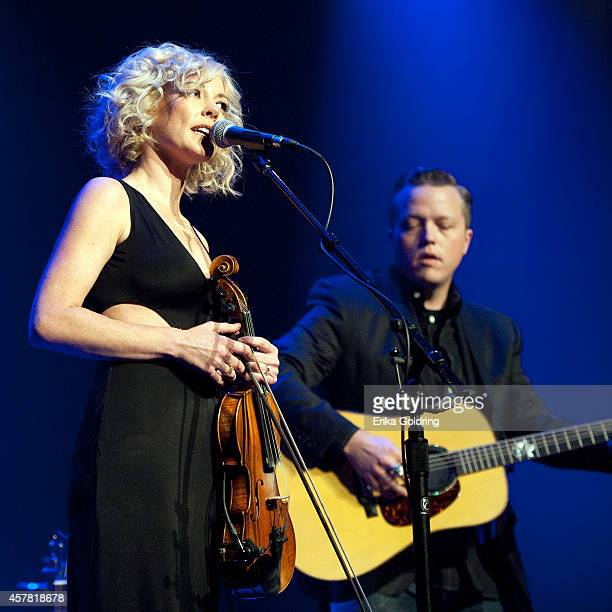 Amanda Shires and her husband Jason Isbell perform at Ryman Auditorium on October 24 2014 in Nashville Tennessee