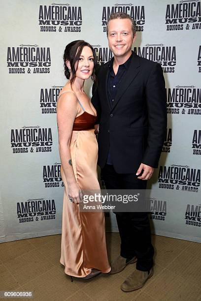 Amanda Shires and Jason Isbell backstage at the Americana Honors Awards 2016 at Ryman Auditorium on September 21 2016 in Nashville Tennessee
