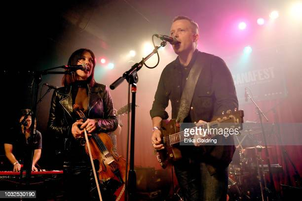 Amanda Shires and Jason Isbell perform onstage during the 19th Annual Americana Music Festival Conference at Mercy Lounge on September 12 2018 in...