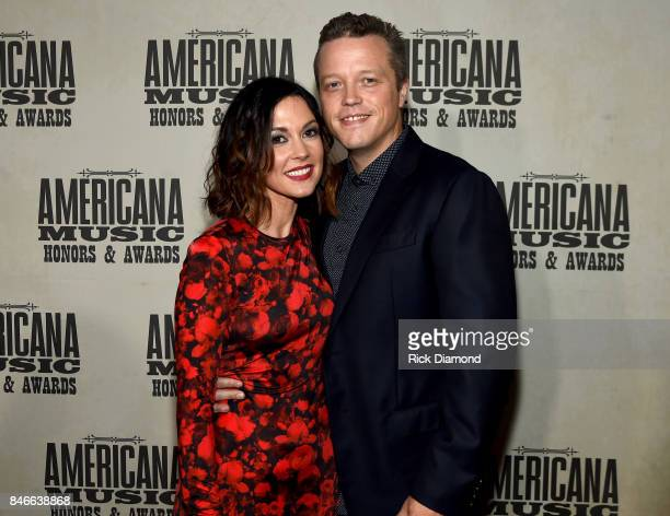 Amanda Shires and singerrsongwriter Jason Isbell arrive at the 2017 Americana Music Association Honors Awards on September 13 2017 in Nashville...