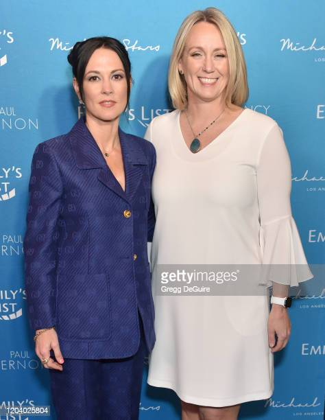 Amanda Shires and Stephanie Schriock attend EMILY's List 3rd Annual Pre-Oscars Event at Four Seasons Hotel Los Angeles at Beverly Hills on February...