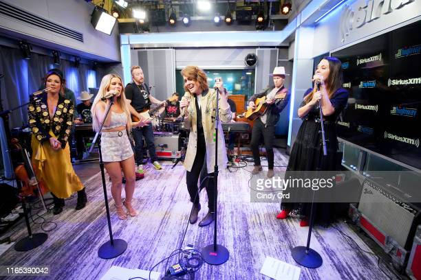 Amanda Shires Maren Morris Brandi Carlile and Natalie Hemby of The Highwomen perform live on SiriusXM's The Highway Channel at the SiriusXM Studios...