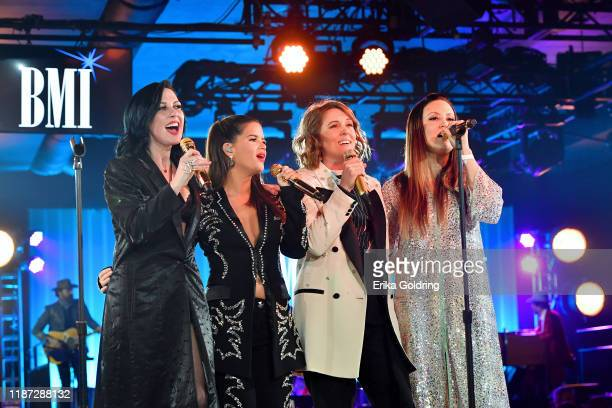 Amanda Shires Maren Morris Brandi Carlile and Natalie Hemby of The Highwomen perform onstage as BMI presents Dwight Yoakam with President's Award at...
