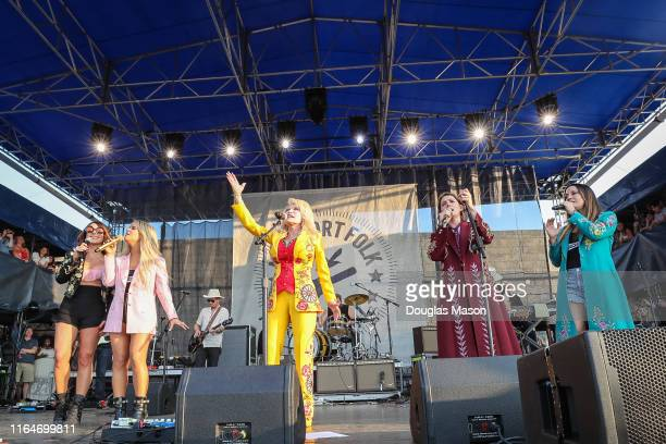 Amanda Shires Maren Morris Dolly Parton Brandi Carlile and Natalie Hemby performs during the Newport Folk Festival 2019 the 60th anniversary at Fort...