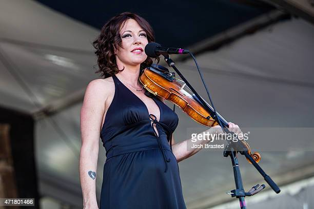 Amanda Shires performs at the New Olreans Jazz Heritage Festival at the Fair Grounds Race Course on April 30 2015 in New Orleans Louisiana