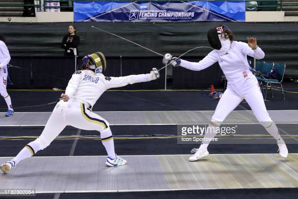 Amanda Sirico of Notre Dame and Andrea Vittoria Rizzi of St. John's compete during Women's Eppe at the National Collegiate Fencing Championships on...