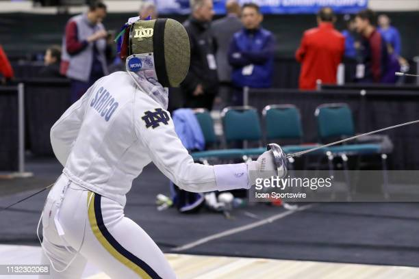 Amanda Sirico of Notre Dame of competes during Women's Eppe at the National Collegiate Fencing Championships on March 23 at the Wolstein Center in...