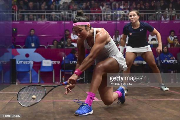 US Amanda Sobhy returns the ball to US Olivia Blatchford in a squash final match during the PanAmerican Games Lima 2019 in Lima on July 27 2019 The...