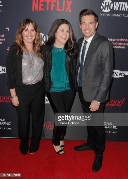 Amanda Spain Dava Whisenant and Ozzy Inguanzo of 'Bathtubs Over Broadway' attend the 2018 IDA Documentary Awards on December 8 2018 in Los Angeles...