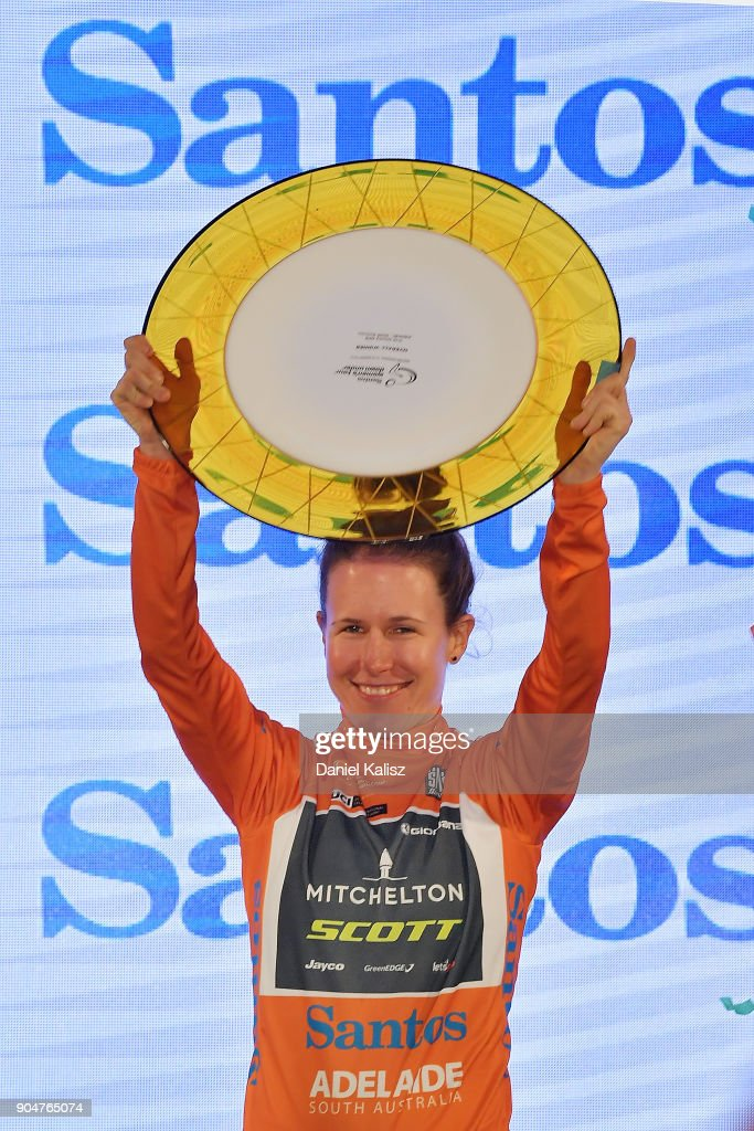 Amanda Spratt of Australia and Mitchelton-Scott celebrates on the podium after winning the Women's Tour Down Under on January 14, 2018 in Adelaide, Australia.