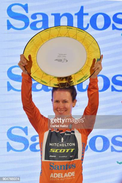 Amanda Spratt of Australia and MitcheltonScott celebrates on the podium after winning the Women's Tour Down Under on January 14 2018 in Adelaide...