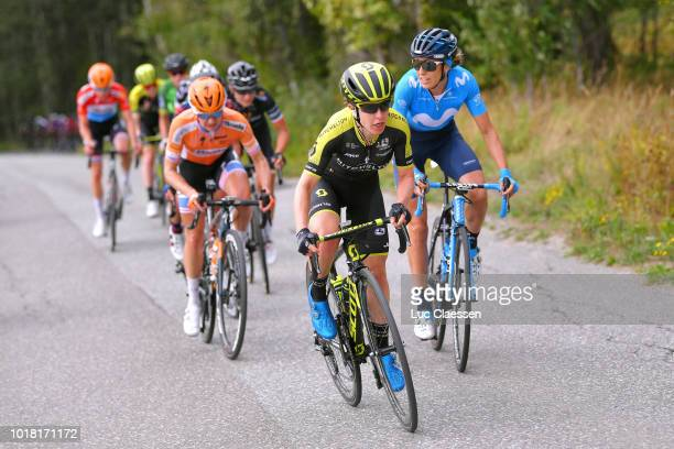 Amanda Spratt of Australia and Team MitcheltonScott / Margarita Victoria Garcia of Spain and Movistar Team / Megan Guarnier of The United States and...