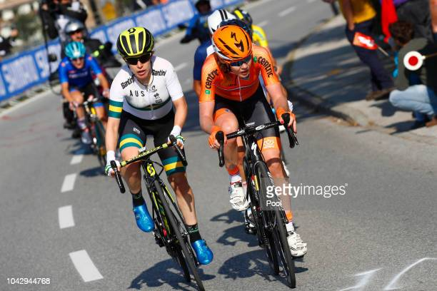 Amanda Spratt of Australia / Anna Van Der Breggen of The Netherlands / during the Women Elite Road Race a 1562km race from Kufstein to Innsbruck 582m...