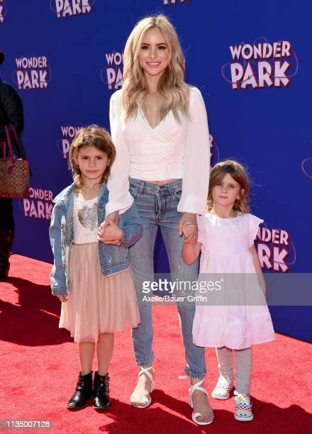 Amanda Stanton and daughters Charlie Buonfiglio and Kinsley Buonfiglio attend the premiere of Paramount Pictures' 'Wonder Park' at Regency Bruin...
