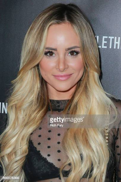 Amanda Stanton attends the launch of PrettyLittleThing by Kourtney Kardashian at Poppy on October 25 2017 in Los Angeles California