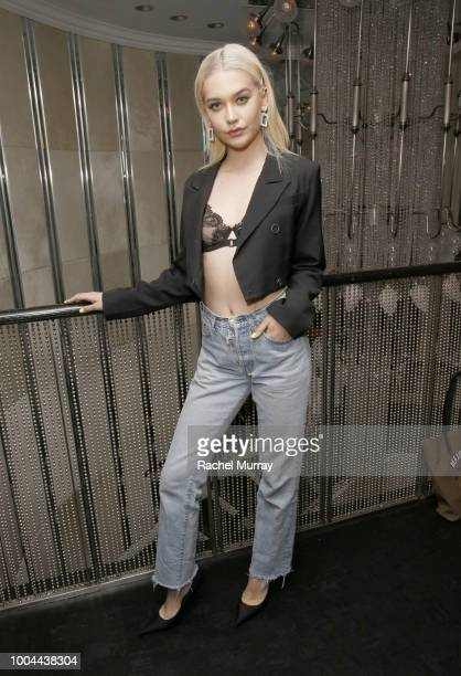 Amanda Steele attends Flaunt and Ermenegildo Zegna's celebration of The Prelude Issue with Bill Skarsgard at Beauty Essex on July 23 2018 in Los...