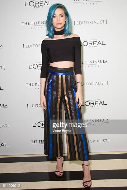 Amanda Steele attends the Editorialist Spring/Summer 2016 Issue Launch Party at the Hotel Peninsula as part of the Paris Fashion Week Womenswear...