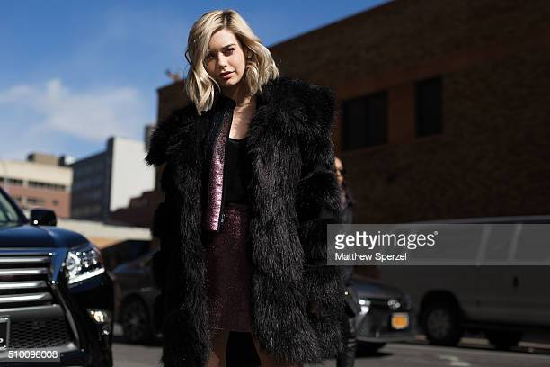 Amanda Steele is seen at Rebecca Minkoff during New York Fashion Week Women's Fall/Winter 2016 on February 13 2016 in New York City