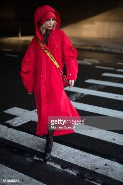 Amanda Steele is seen attending Cushnie et Ochs during New York Fashion Week wearing a red Off White outfit on February 10 2017 in New York City