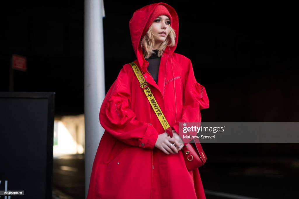 Amanda Steele is seen attending Cushnie et Ochs during New York Fashion Week wearing a red Off White outfit on February 10, 2017 in New York City.