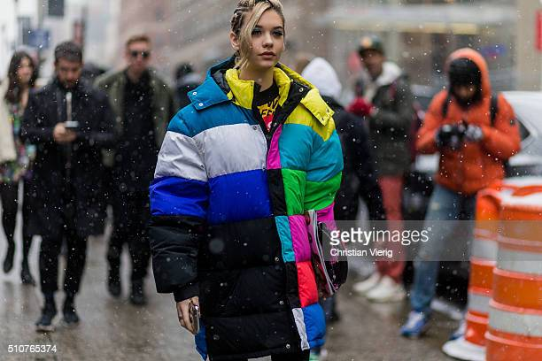Amanda Steele seen outside Jeremy Scott during New York Fashion Week Women's Fall/Winter 2016 on February 15 2016 in New York City