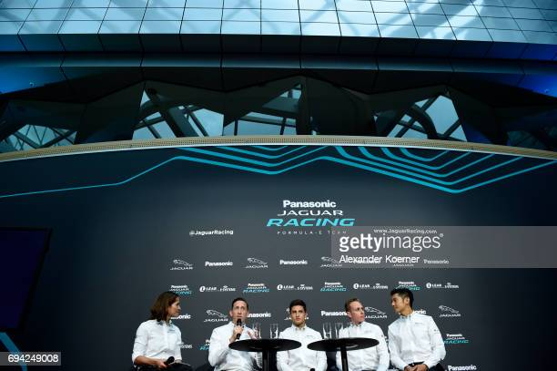 Amanda Stretton James Barkley Mitch Evans Adam Carroll and HoPin Tung during a panel discussion during the Jaguar Recharge Event at the British...